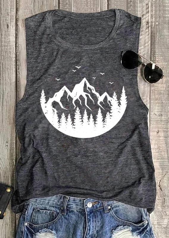 Mountain Tree Bird Camping Casual Tank - Dark Grey