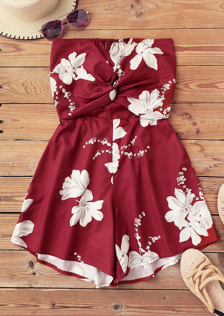 Floral Hollow Out Open Back Twist Strapless Romper - Brick Red