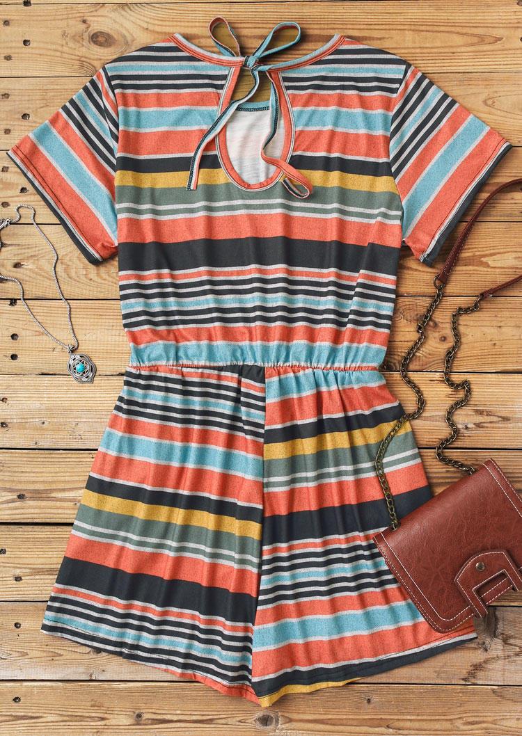Plus Size Colorful Striped Drawstring Pocket Romper