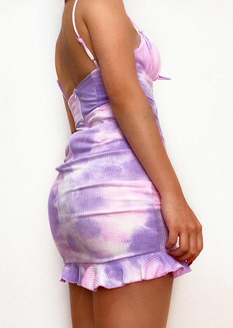 Tie Dye Drawstring Ruched Adjustable Strap Bodycon Dress - Purple