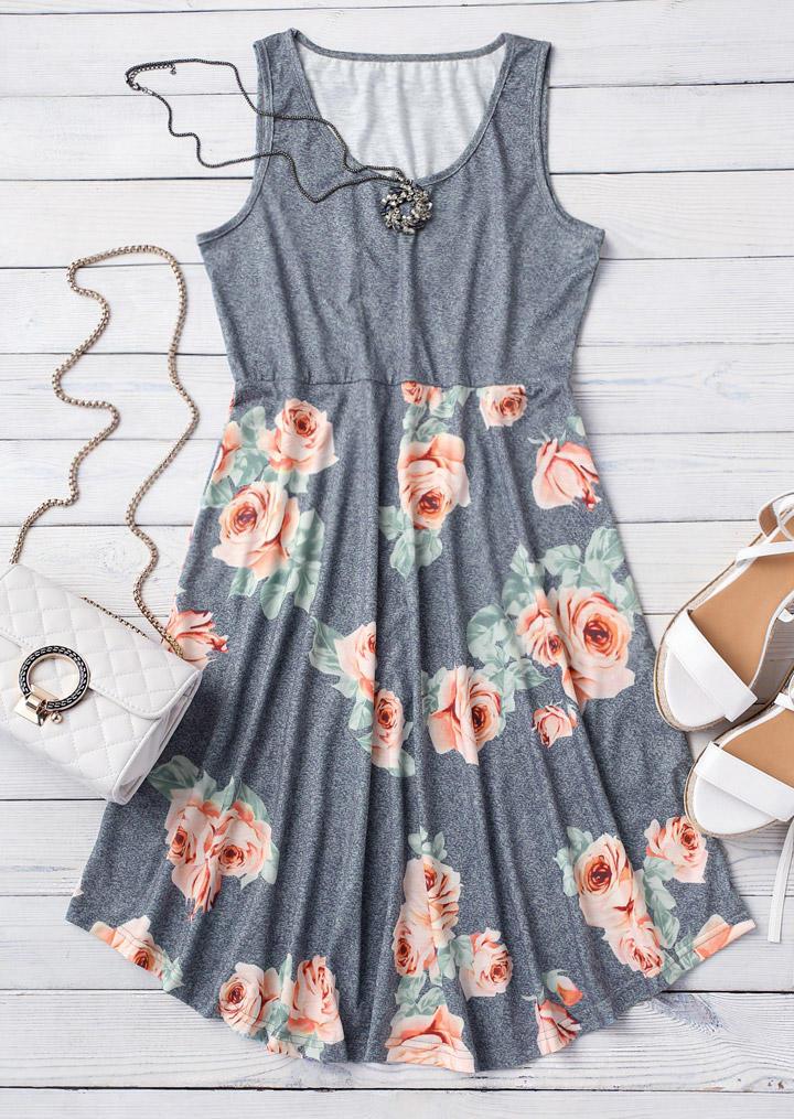 Floral Ruffled O-Neck Sleeveless Mini Dress - Gray