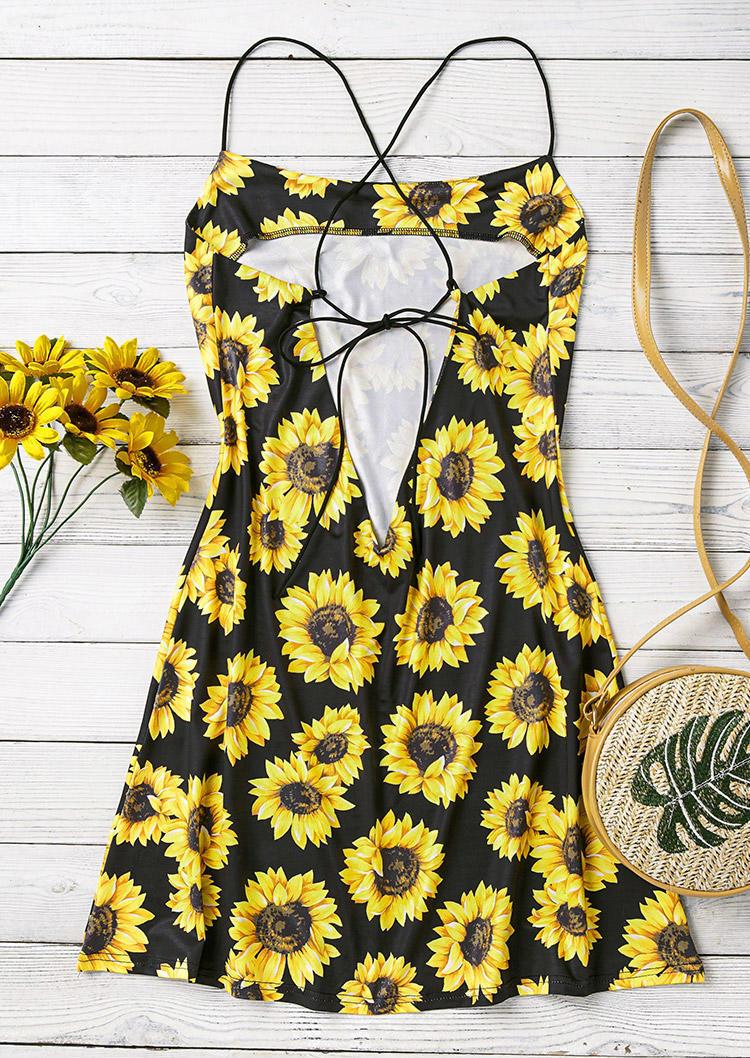 Sunflower Open Back Tie Spaghetti Strap Mini Dress - Black
