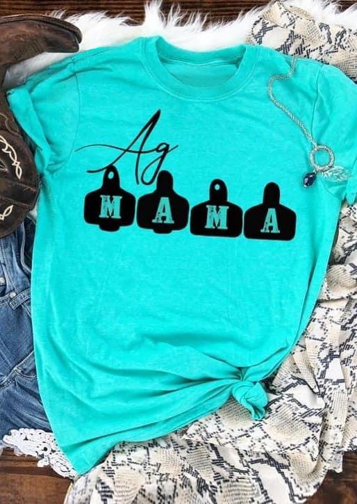 Mama O-Neck T-Shirt Tee - Cyan