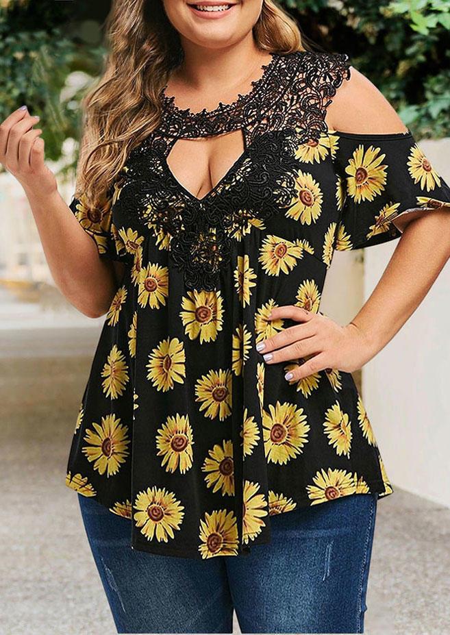 Plus Size Lace Sunflower Cold Shoulder Blouse - Black