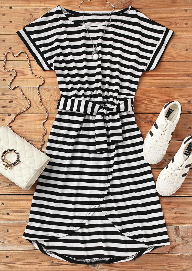 Striped O-Neck Asymmetric Mini Dress