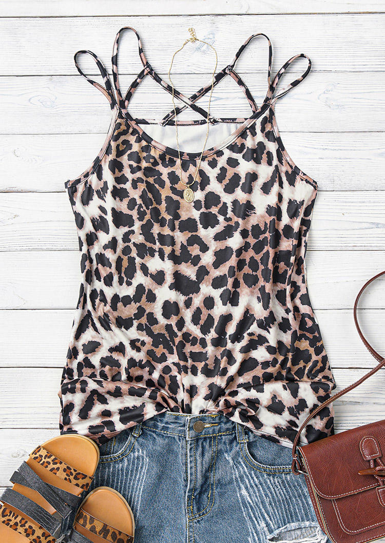 Leopard Criss-Cross Hollow Out Camisole