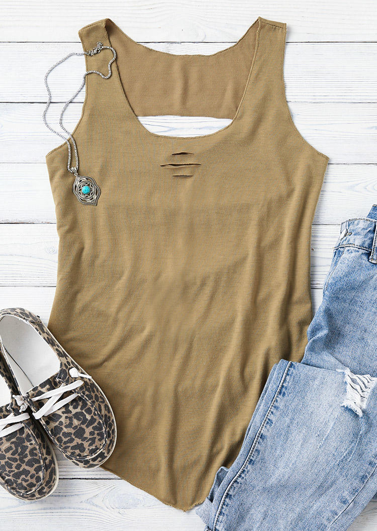 Ripped Hole Hollow Out Casual Tank - Army Green