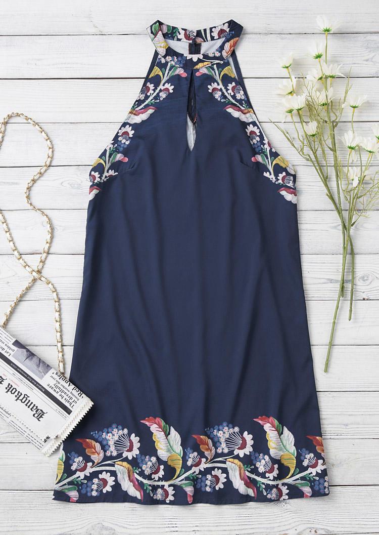 Floral Leaf Hollow Out Halter Mini Dress - Navy Blue