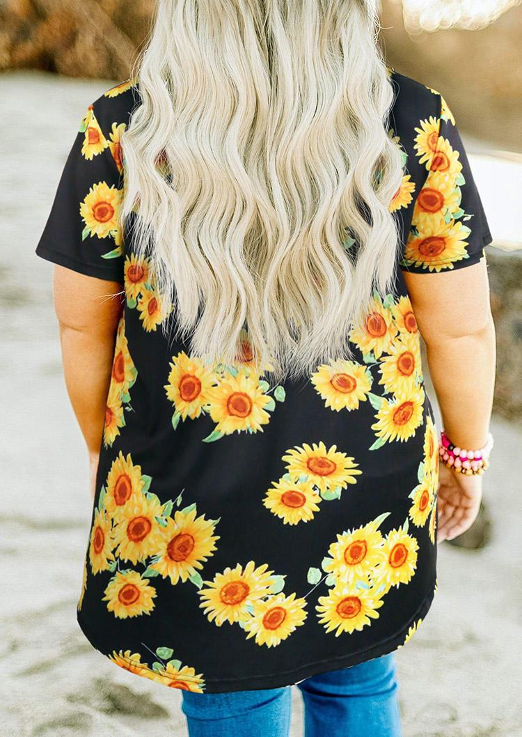 Plus Size Sunflower V-Neck T-Shirt Tee - Black