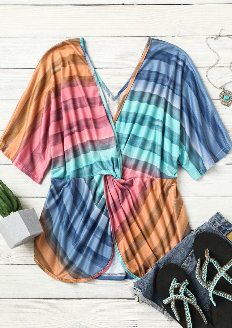 Striped Gradient Twist Open Back Blouse