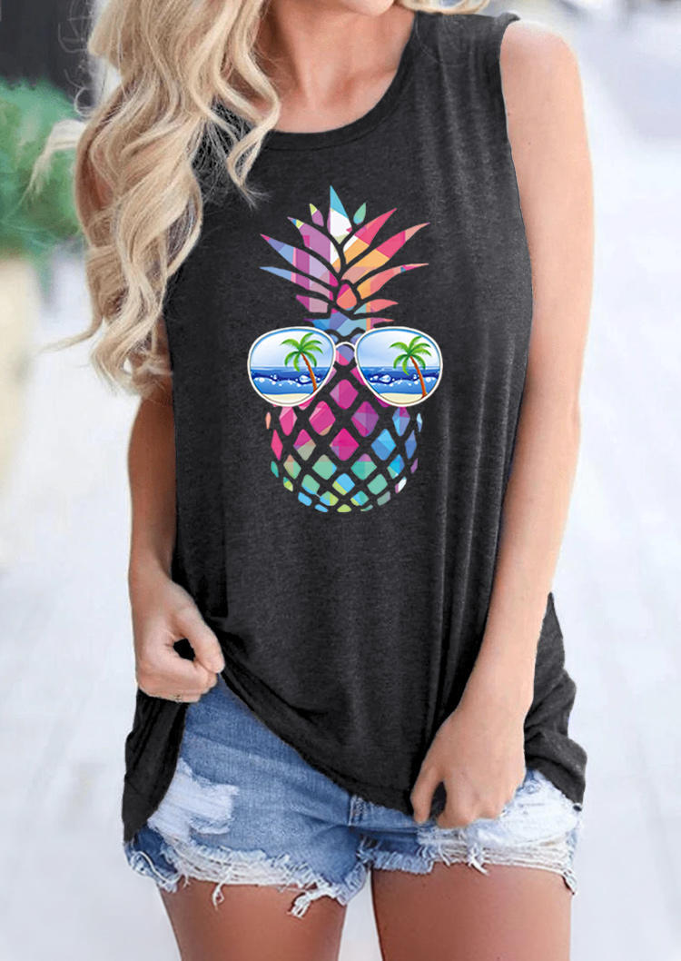 Colorful Pineapple Sunglasses Beach Tank - White