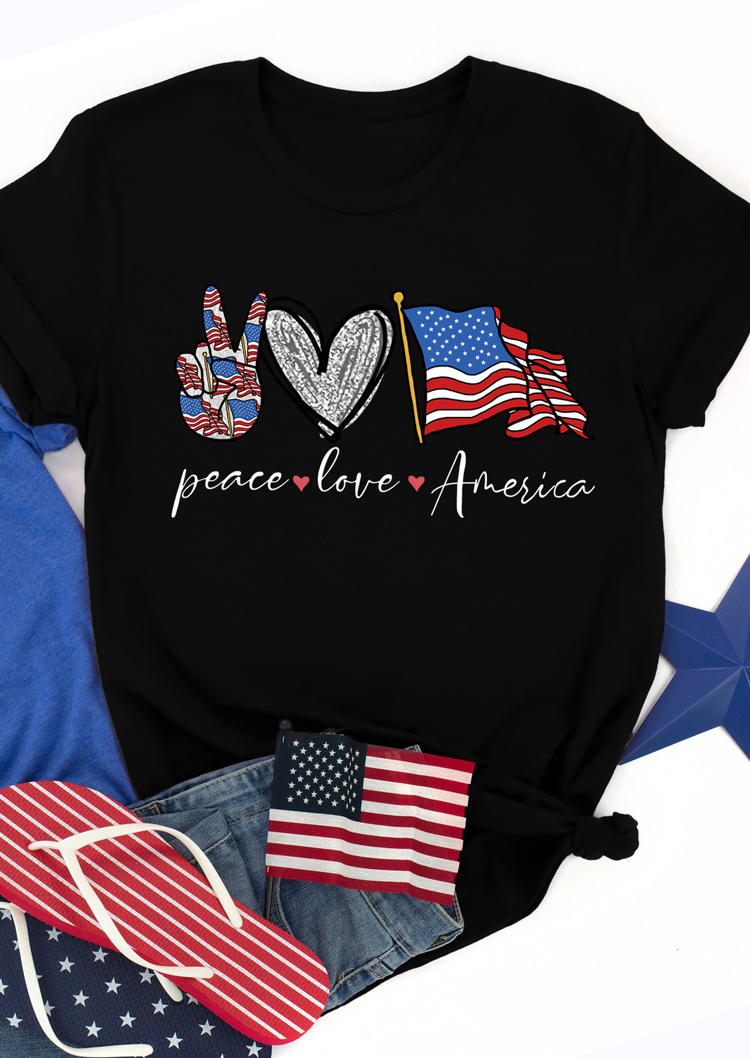 Peace Love America Heart Flag T-Shirt Tee - Black