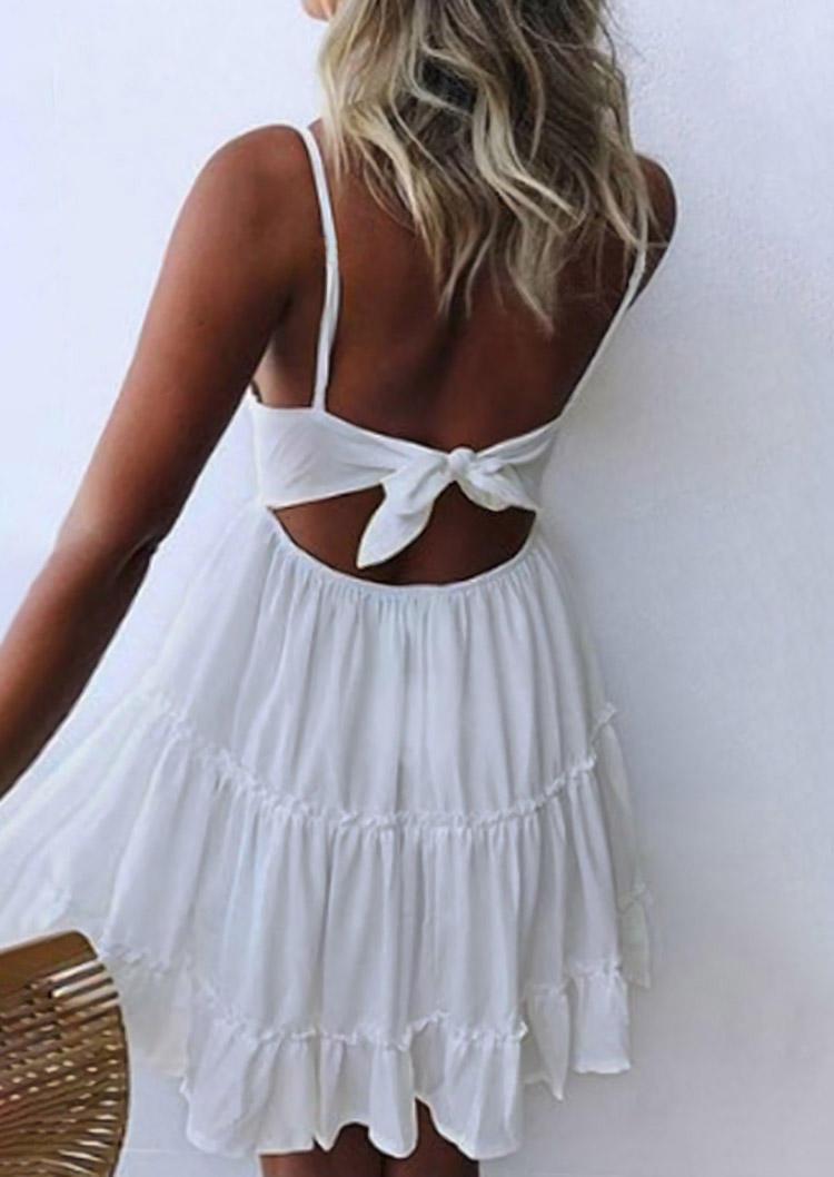 Lace Splicing Ruffled Open Back Tie Mini Dress - White