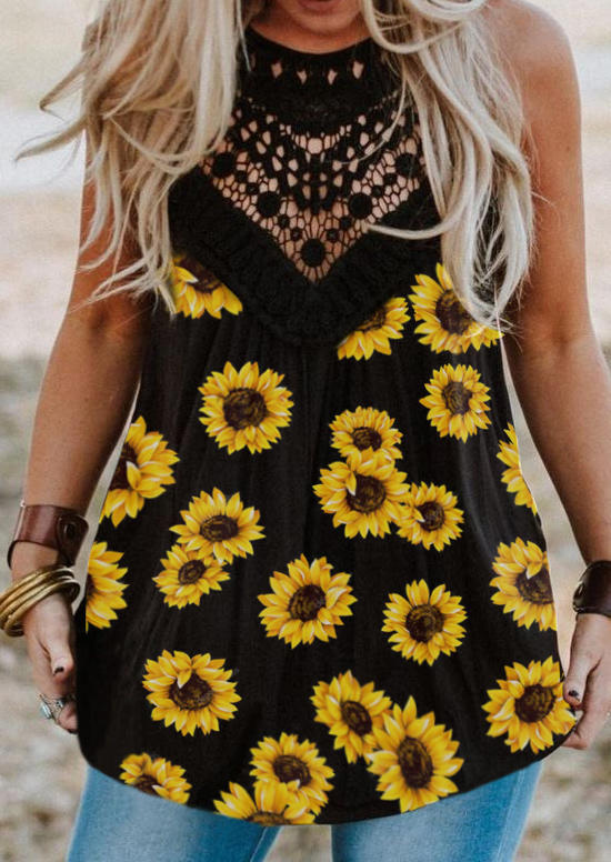 Sunflower Lace Hollow Out Casual Tank - Black