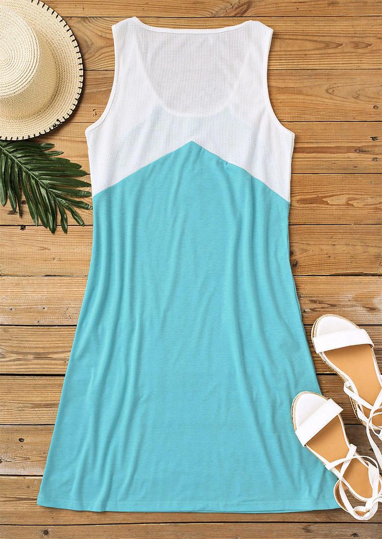 Color Block Button Pocket Sleeveless Mini Dress - Cyan
