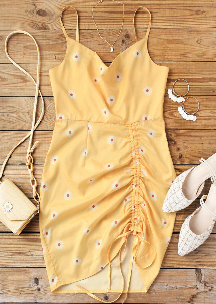 Daisy Adjustable Strap Drawstring Bodycon Dress - Light Yellow