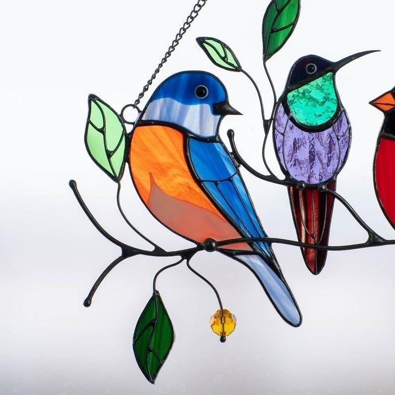 2pcs Birds Stained Window Hangings