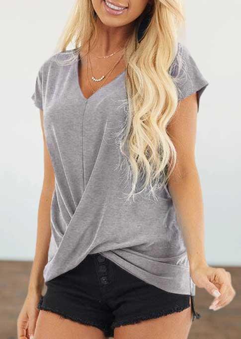 Twist Short Sleeve V-Neck Casual Blouse - Black