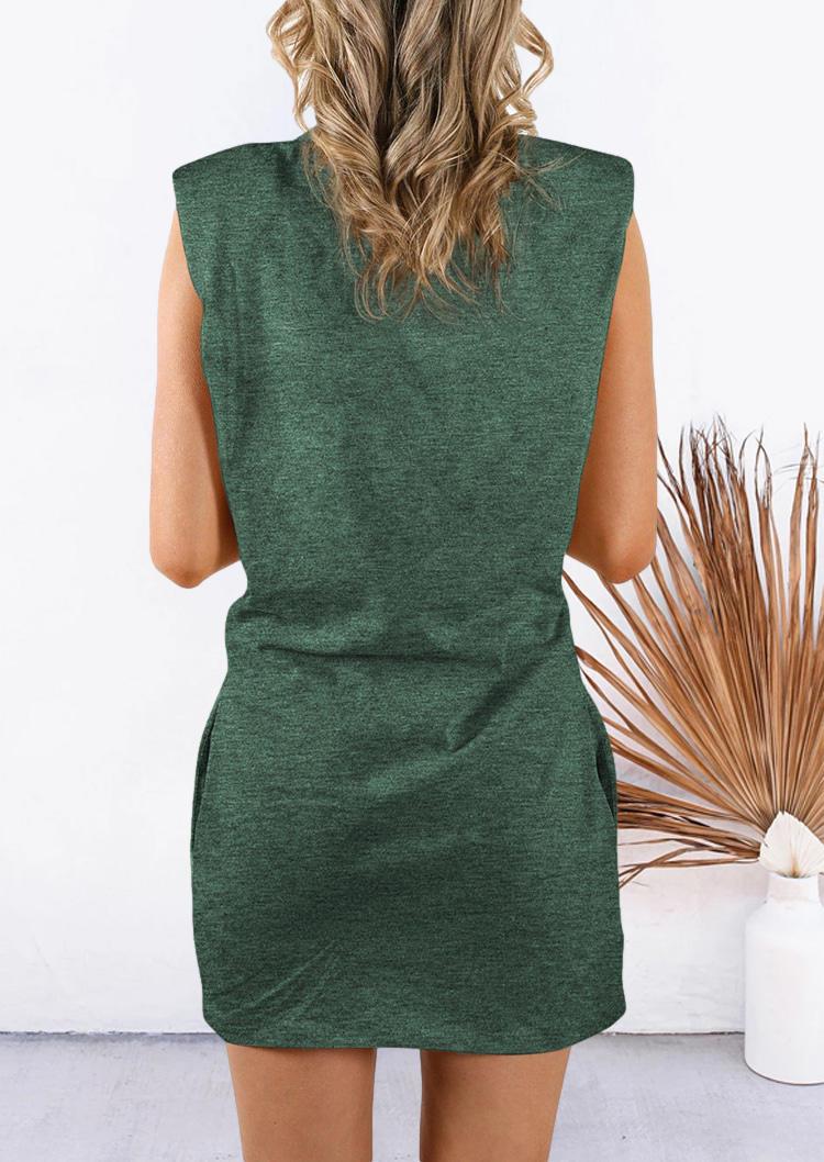 Pocket Sleeveless O-Neck Mini Dress - Green