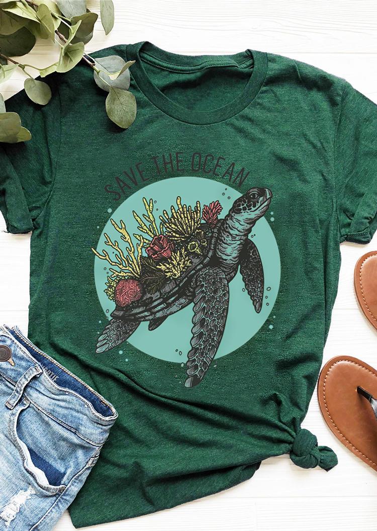 Save The Ocean Turtle T-Shirt Tee - Dark Green