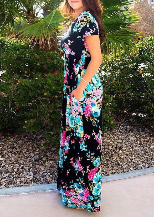 Floral Leaf Ruffled Pocket Maxi Dress