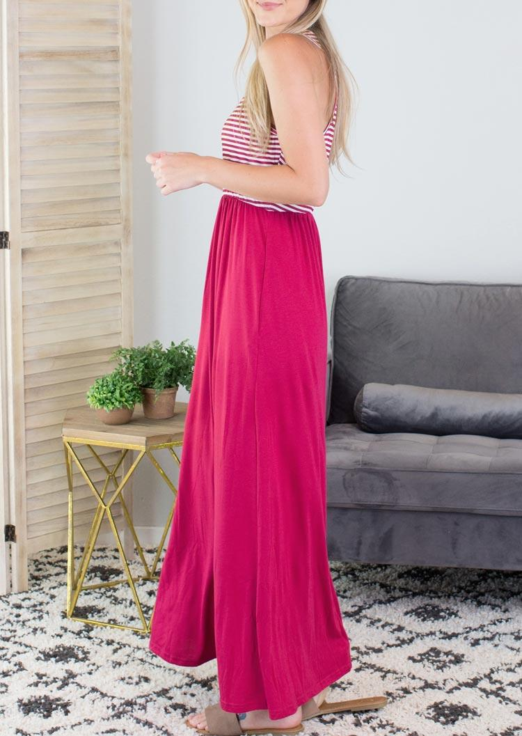 Striped Sleeveless O-Neck Maxi Dress - Rose Red