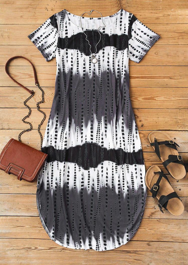 Gradient Tie Dye Slit Midi Dress