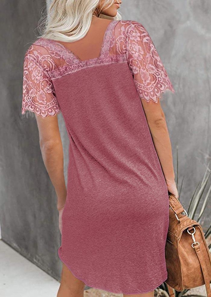 Lace Splicing Twist V-Neck Mini Dress - Cameo Brown