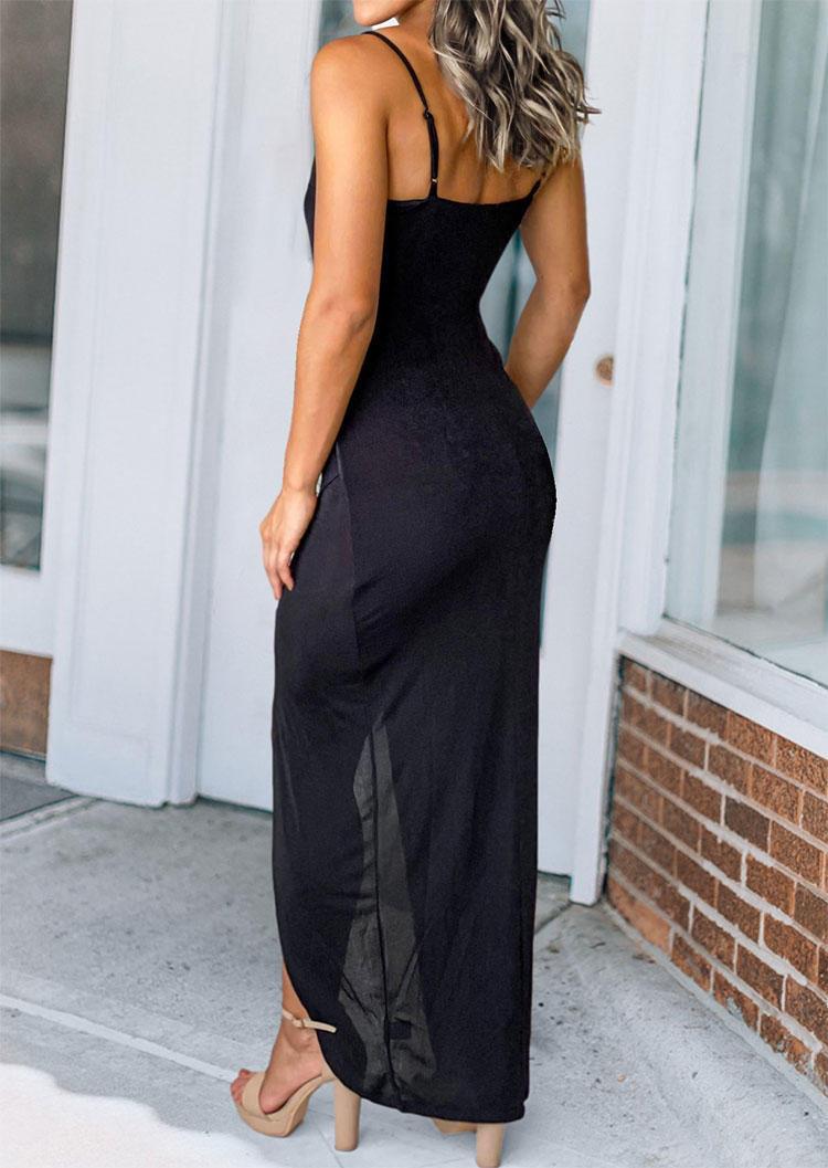 Hollow Out Tie Slit Spaghetti Strap Bodycon Dress - Black