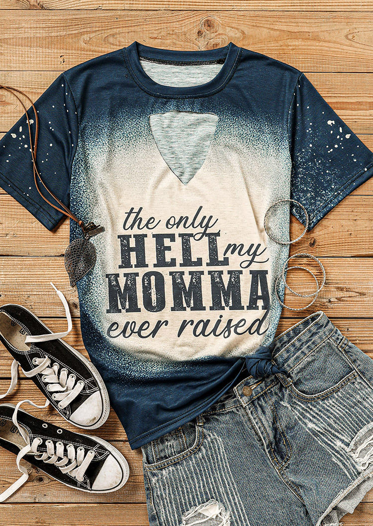 The Only Hell My Momma Bleached T-Shirt Tee - Navy Blue
