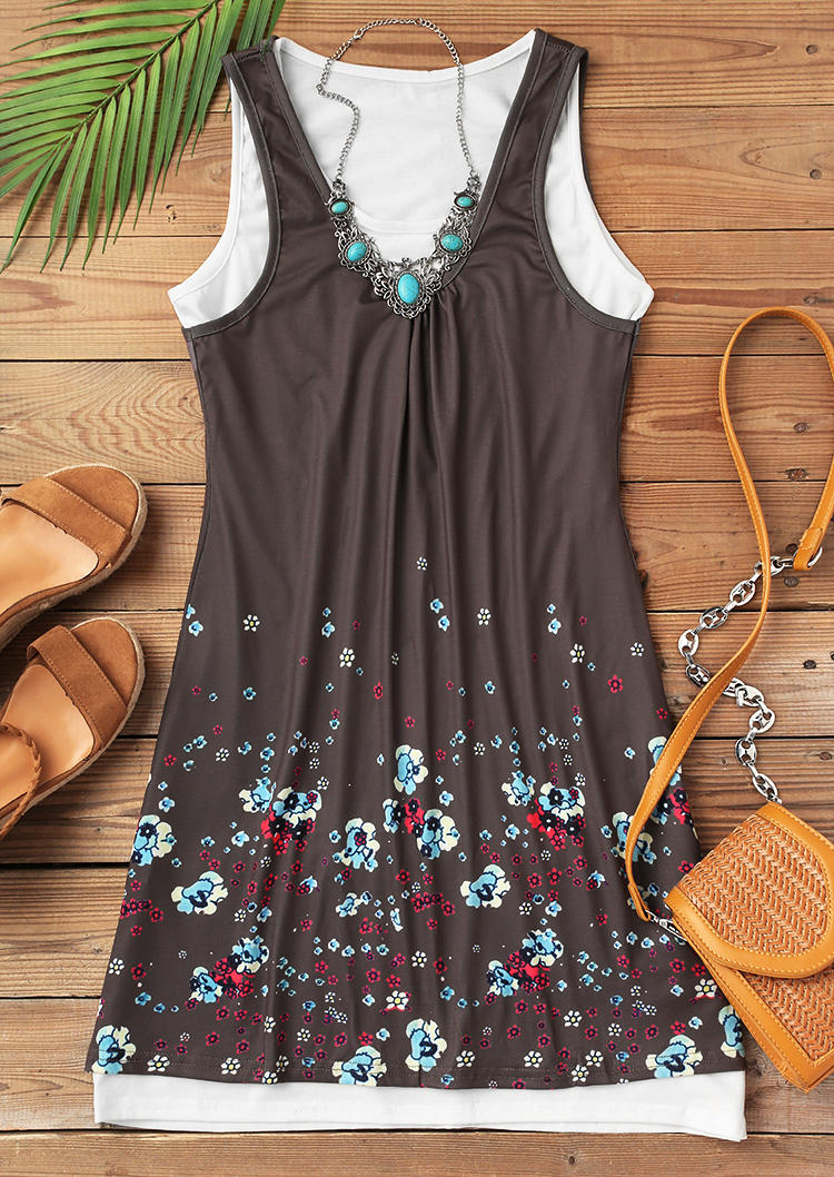 Floral Ruffled Two-Piece Mini Dress Outfit - Dark Coffee