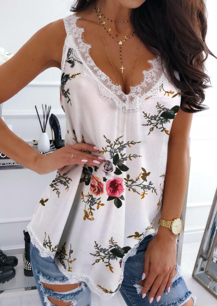 Floral Lace Splicing Casual Tank - White