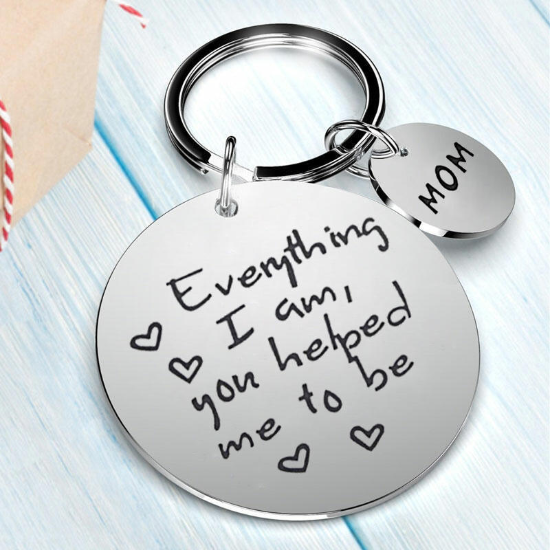 Mom Dad Everything I Am You Helped Me To Be Keychain