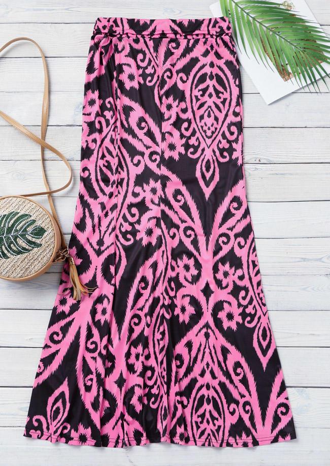 Vintage Floral Elastic Waist Long Skirt
