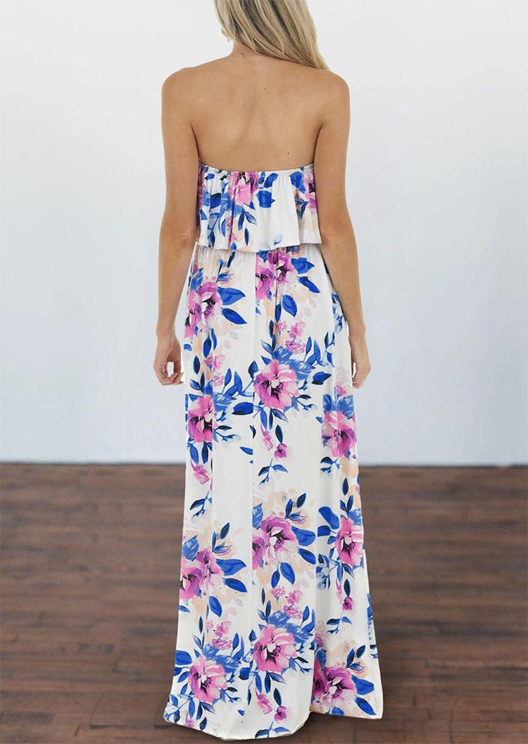 Floral Layered Strapless Pocket Elastic Waist Maxi Dress - White