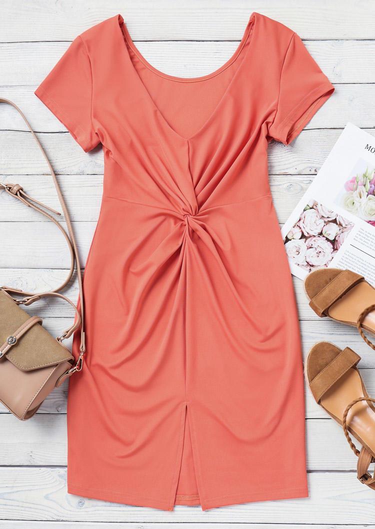 Twist Ruffled Slit Bodycon Dress - Watermelon Red