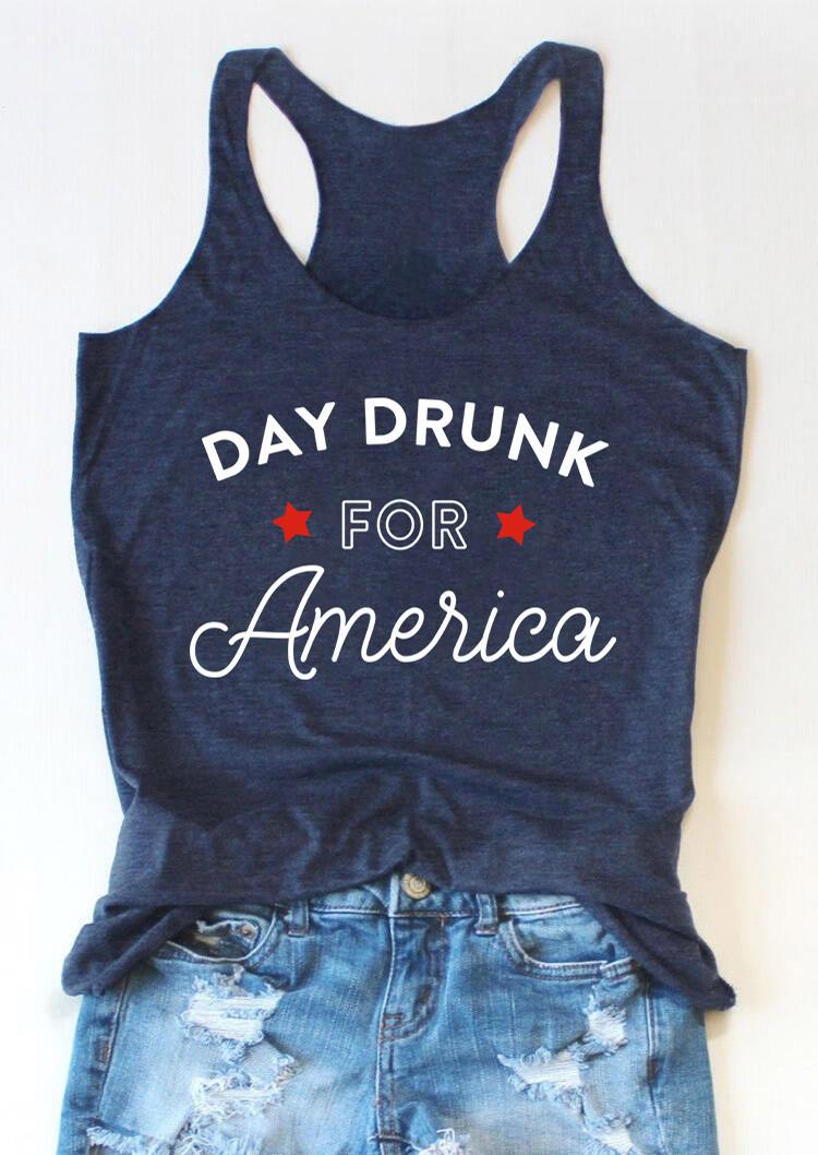 Day Drunk For America Star Racerback Tank - Deep Blue