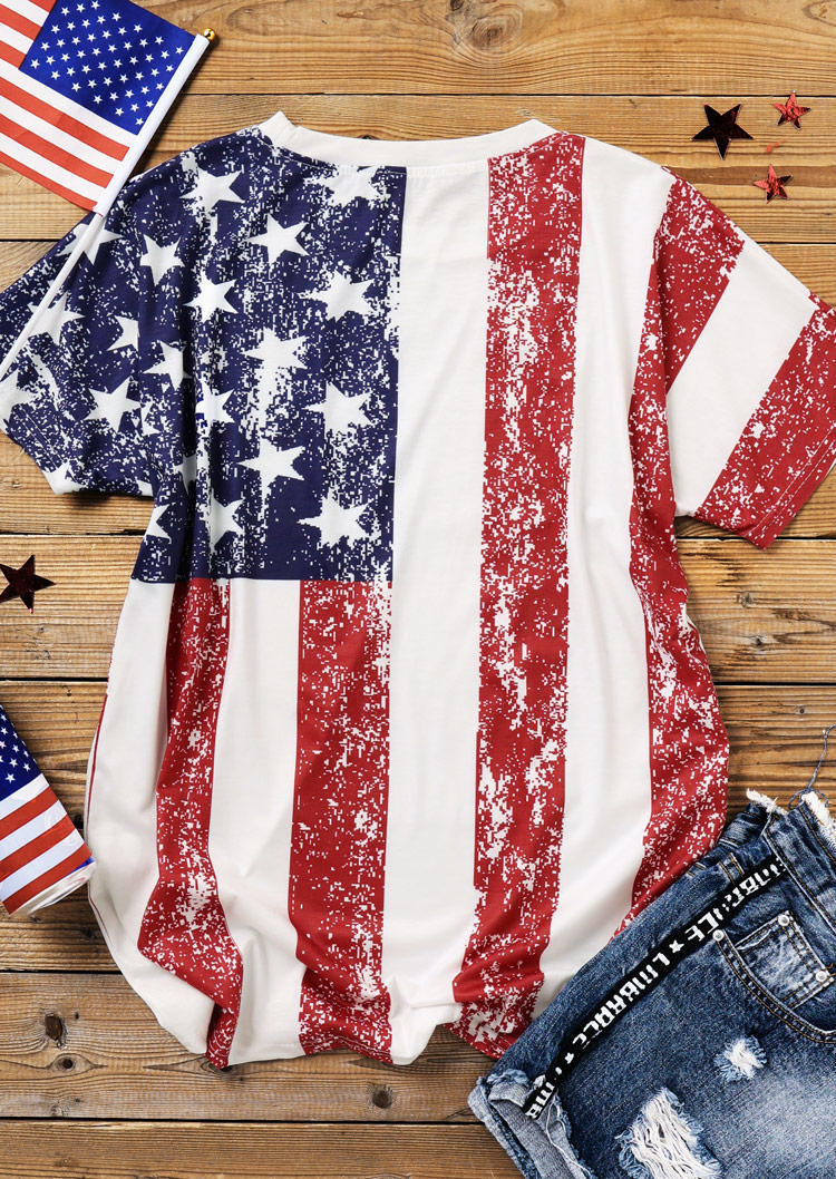 American Flag Star Striped Casual Blouse