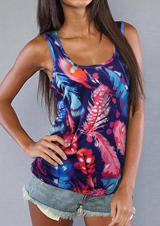 Colorful Feather Floral Lace Splicing Racerback Tank