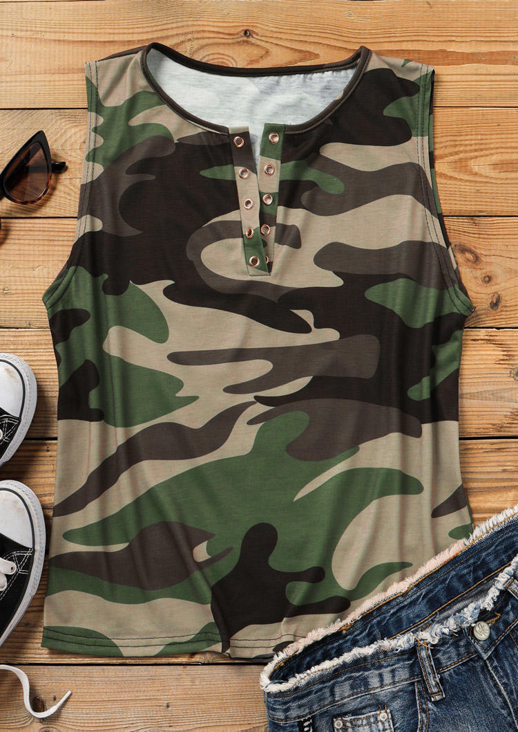 Camouflage Notched Neck Tank without Black Camisole