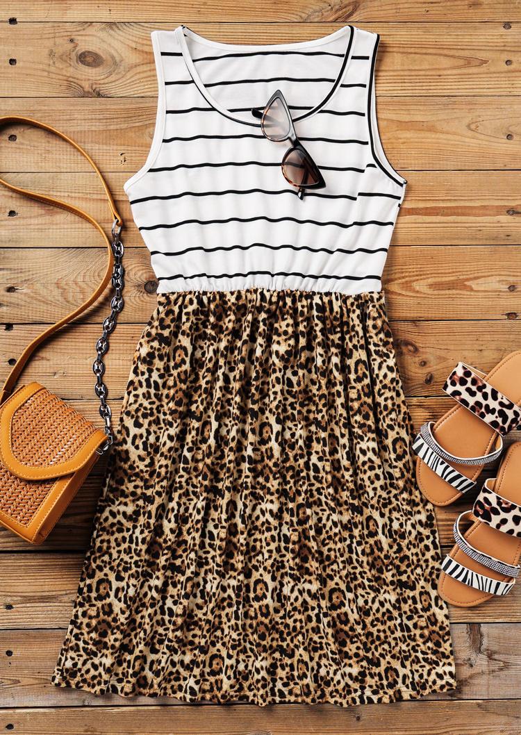 Striped Leopard Splicing Pocket Elastic Waist Mini Dress