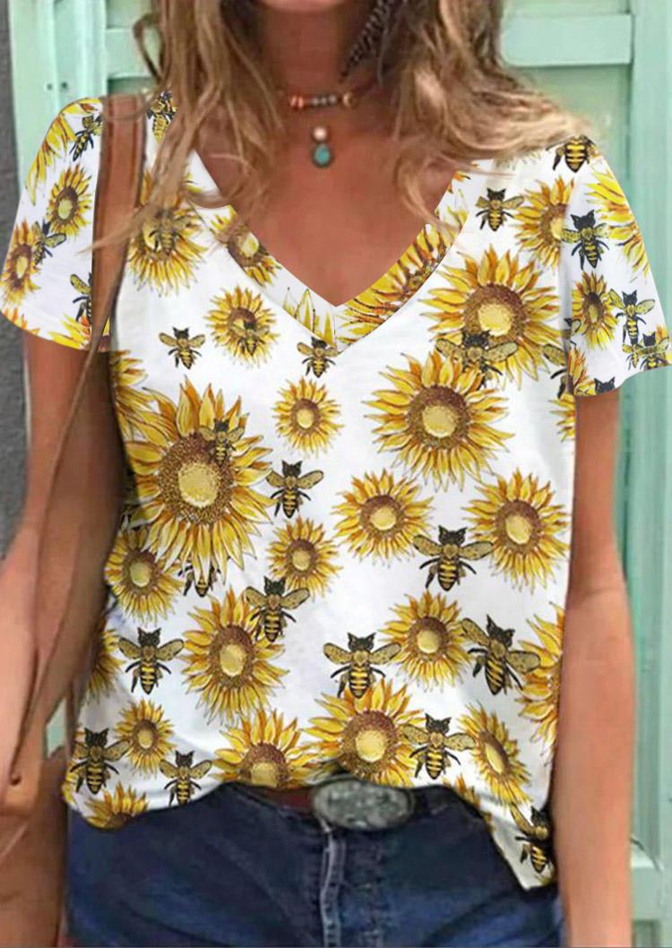 Sunflower Bee V-Neck Casual Blouse - White