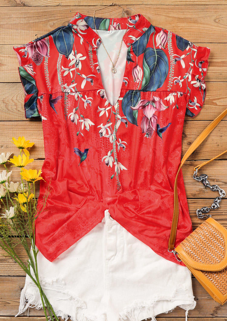 Floral Ruffled V-Neck Blouse - Red