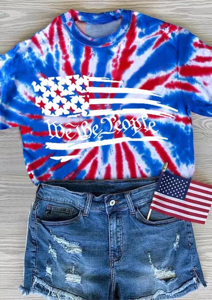 We The People American Flag Tie Dye Blouse