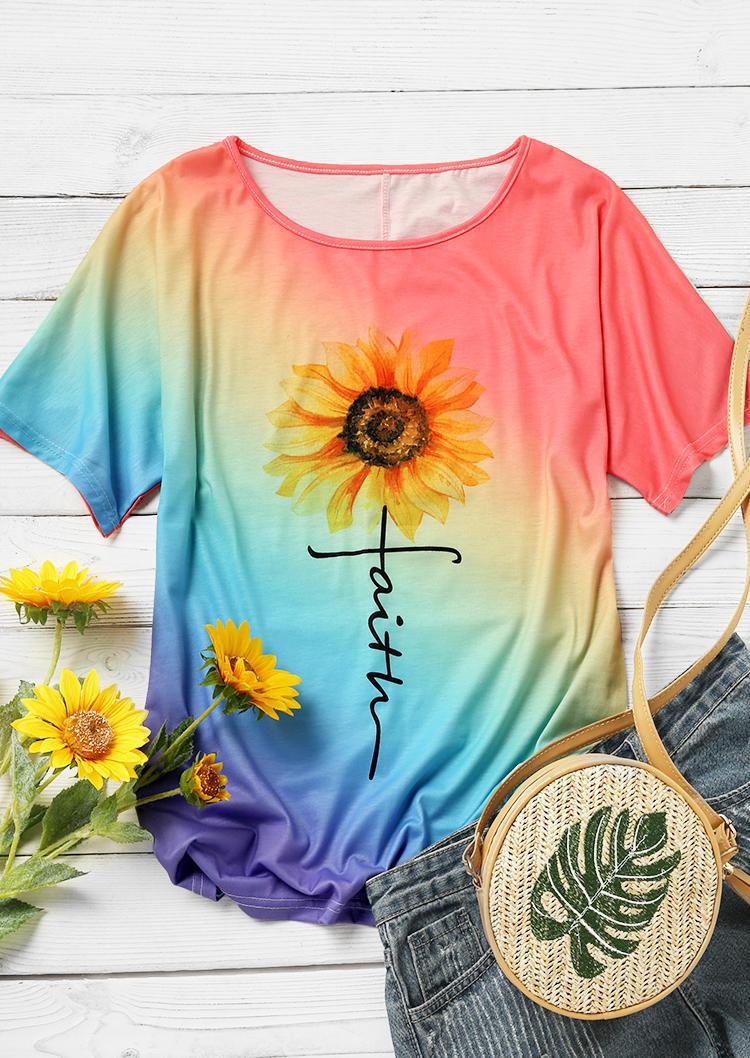 Gradient Sunflower Faith Blouse