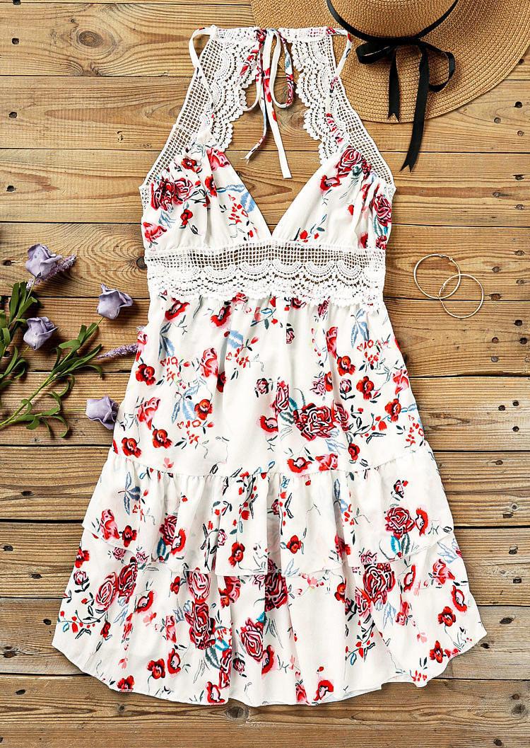 Lace Splicing Ruffled Open Back Layered Mini Dress