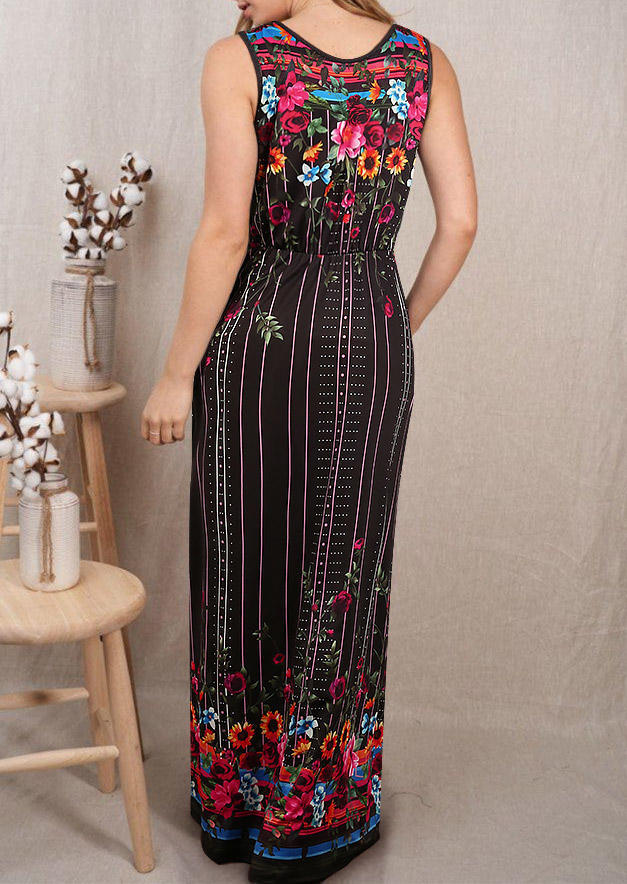 Floral Pocket Sleeveless Maxi Dress - Black