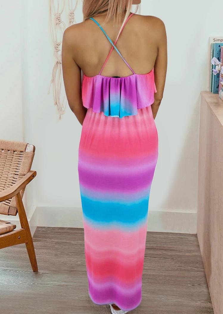 Gradient Layered Slit Open Back Maxi Dress