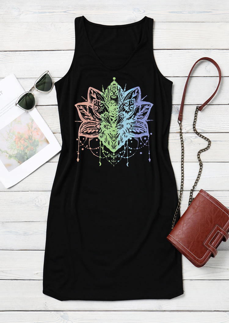 Gradient Mandala Lotus Sleeveless Mini Dress - Black