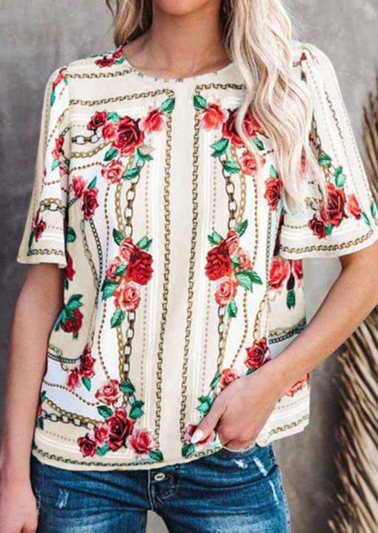 Floral O-Neck Casual Blouse